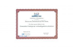 Domiatec: Certificate of Recognition 2016