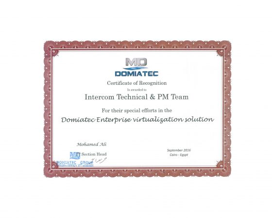 Domiatec: Certificate of Recognition 2016